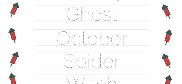 Halloween Handwriting Practice - English