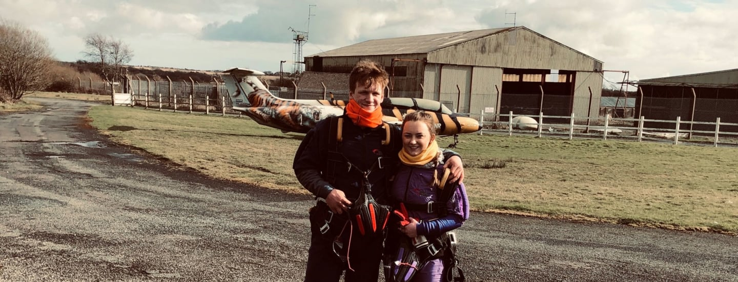 Couple Take Leap for Two Charities