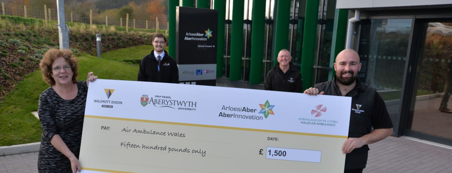 Aberystwyth University contractors raise funds for Wales Air Ambulance